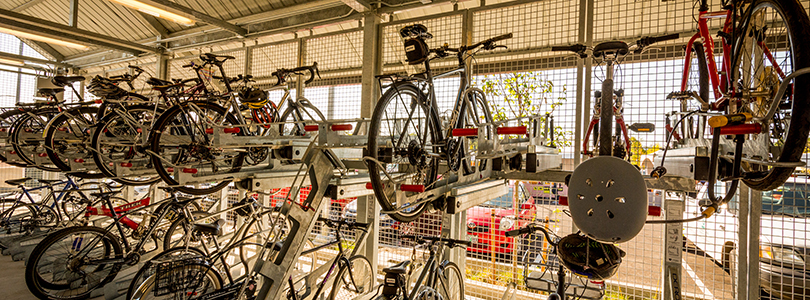 There are a total of 146 secure and enclosed bike parking spaces at Orange Line Bike & Rides.